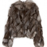 Band Of Outsiders Fox Fur Jacket In Cool Grey | The Dreslyn