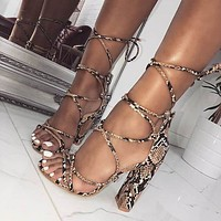 Lace Up Snakeskin High Chunky Heel Sandals