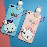 Lovely cartoon Duck Lanyard couple mobile phone case for iPhone X 7 7plus 8 8plus iPhone6 6s plus -171110