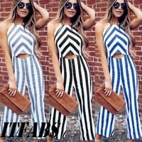 Women Sleeveless Striped Jumpsuit Romper Casual Clubwear Wide Leg Pants Outfits Women Halter Striped Jumpsuits Clothing