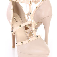 Nude Spike Studded Strappy Platform Heels Faux Leather