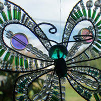 Spring- Green Butterfly- Ornament- Window Charm- Rear View Mirror Charm- Suncatcher- Summer- Birthday- Gift for Her- Mother's Day