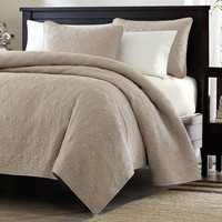 King Size Khaki Coverlet Set in Nature Floral Pattern with 2 Matching Shams