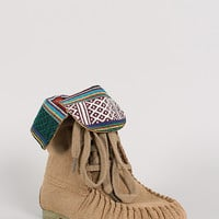 Wild Diva Lounge Starcy-40 Suede Tribal Cuff Lace Up Moccasin Bootie