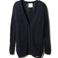 Navy Loose Gauge and Chunky Cable Knit Cardigans with V Neckline