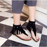 Suede Women Sandals Tassel Buckle Flats Shoes