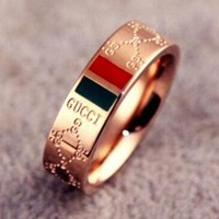 2018 Hot ! Fashion Women Men Classic Red Green Stripe GG Letter Titanium Steel Ring Lovers Ring I12556-1