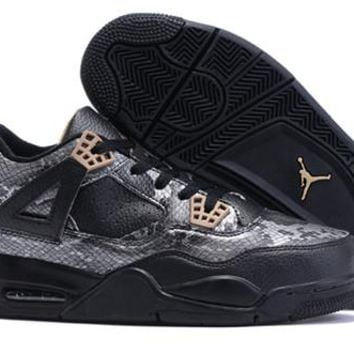 Cheap Nike Air Jordan 4 Retro Men Shoes Snake Skin Black Gold
