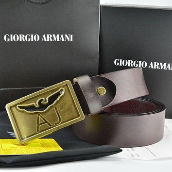 Giorgio Armani   Men Fashion Smooth Buckle Belt Leather Belt