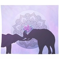Elephant Love Tapestry Purple and Black with Pink Elephant Wall Hanging Light