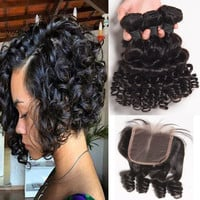 8A Short Bob Curly Hair 3Bundle With Lace Closure Funmi Hair Style