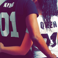 King queen design fashion 100% cotton short sleeve T-shirt stolen goods O - neck  couple T-shirt  2016 new fashion style