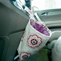Water Resistant Car Trash Bag/Organizer Caddy for Gear Shift Grey and Pink Flowers with Maroon Lining Washable Car Trash/Waste/Refuse Bag