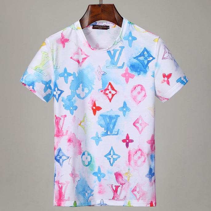 Image of LV Louis Vuitton new full printed tie-dye logo printed round neck half-sleeved T-shirt