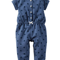 Polka Dot French Terry Jumpsuit