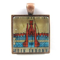 Postage Stamp Pendant from Vintage, in Glass Tile Square