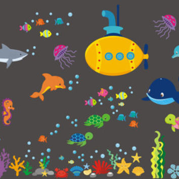 """Sea Ocean Wall Decals, Nursery Wall Decals, Marine Life Decals, Shark Decal, Whale Decal, Fish Decal, Submarine Decal, Reusable - 60"""" x 110"""""""