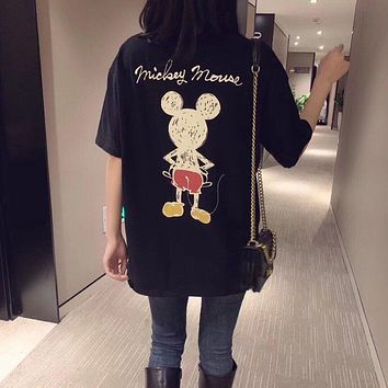 """Gucci x Disney"" Unisex Fashion Cute Hand Painted Cartoon Mickey Mouse Print Couple Short Sleeve T-shirt Top Tee"