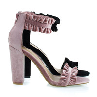 Rampage93 Blush Velvet By Bamboo, Chunky Block High Heel Sandal w Ruffled Straps, Retro Chic