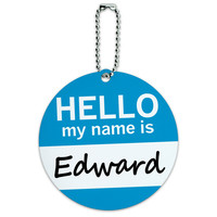 Edward Hello My Name Is Round ID Card Luggage Tag