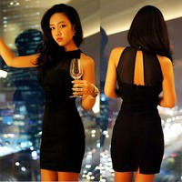 Sexy Women Gauze Sleeveless Mini Dress Slim Cocktail Party Thurley Dress 2 Pcs