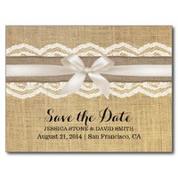 Classy Ivory Ribbon Lace & Burlap Save the Date