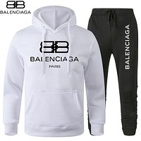 B Balenciaga Print hoodie top and pants Trouser two piece set sports suit White