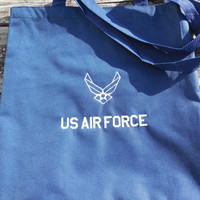 US Air Force Embroidered Tote Bag, Grocery, Market Tote, Eco Friendly Tote