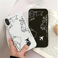 Luxury Popular Planes Map Designs Phone Case for IPhone 11 Pro XR X Xs Max 8 7 6s Plus 5S SE Soft Silicone Cases Black Cover