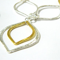 Silver Marquise Link Necklace Gold Chain Long Single Strand Handmade
