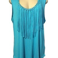 MICHAEL Michael Kors Woman's Grommet Fringe Trim Tank Top Plus SZ 2X Peacock