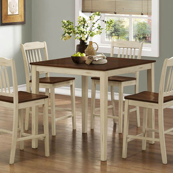 Antique White / Walnut 5Pcs Counter Height Dining Set