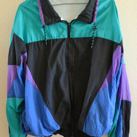 Multicolored Retro Jacket Oversized 90's Vintage XL