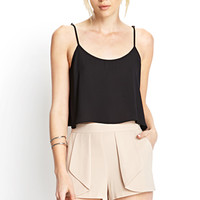 FOREVER 21 Soft Woven Origami Shorts Beige Large