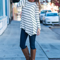 Side To Side Tunic, White/Black