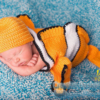 Clownfish Costume for Baby - Finding Nemo set - Cocoon and Hat - newborn outfit - photo prop or gift for baby shower