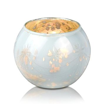 Vintage Mercury Glass Globe Holder (3-Inch, Mary Design, Pearl White) - For use with Tea Lights - Home Decor, Parties and Wedding Decorations