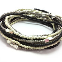 Seed bead wrap stretch bracelets, stacking, beaded, boho anklet, bohemian, stretchy stackable multi strand, black white ivory grey silver