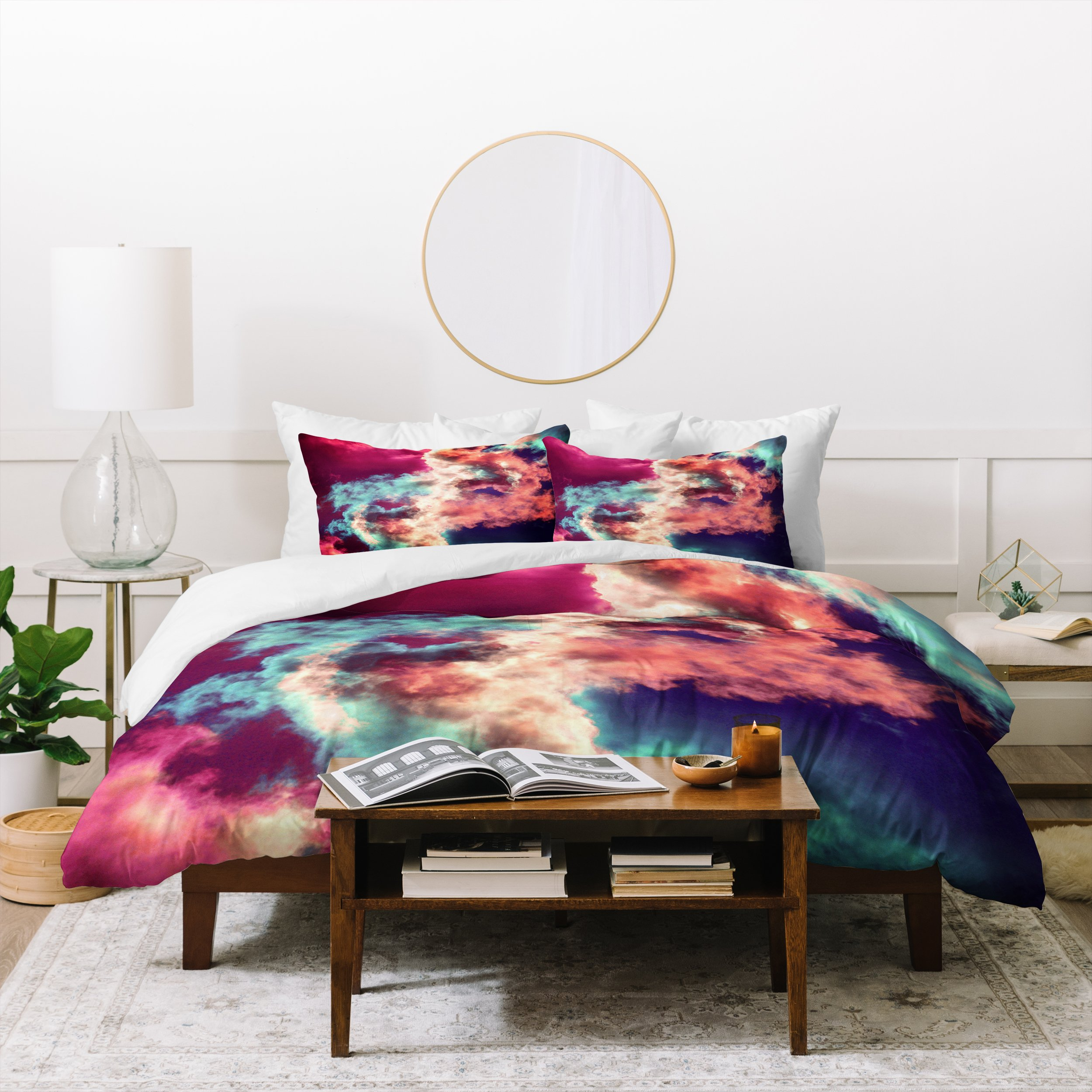 Image of Caleb Troy Yin Yang Painted Clouds Duvet Cover