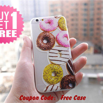 Donuts Clear Phone Case Cover for iPhone 6 6s plus , 6 6s , 5s 5 , 4s 4 , Pressed Clear iPhone 6 6s Case , Custom Clear iPhone 6 6s Case