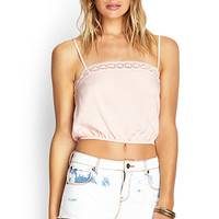 FOREVER 21 Cropped Crochet-Trimmed Cami Blush