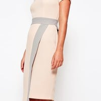 Closet 2 in 1 Midi Dress with Wrap Skirt and Contrast at asos.com