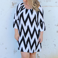 Places To Go Chevron Print Dress With Bell Sleeves ~ Black ~ Sizes 12-18