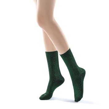 Glitterati Sparkle Crew Sock | Jungle Green
