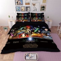 HD 5D 3D Star Wars Film Bedding Set King Queen full Twin Size 3PCS black Duvet Cover sets Pillowcase Luxury fashion bedclothes