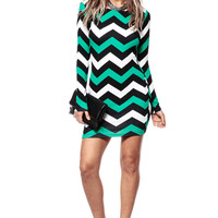 Emerald Chevron Body Con Dress