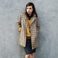 60s Brown and Tan Houndstooth Jacket, Trench Coat
