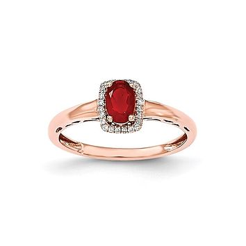 14k Rose Gold Oval Fire Opal & Real Diamond Rectangle Ring