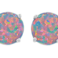 3 Carat Black Opal Stud Earrings .925 Sterling Silver Rhodium Finish