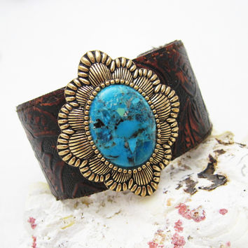 Wide Turquoise Cuff Bracelet Tooled Leather Barse Jewelry